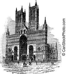 彫版, リンカーン, 型, 教会, 祝福された, ∥あるいは∥, 新しい, lincoln., 大聖堂, mary