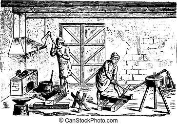 彫版, 世紀, 18番目, 比喩, engraving., 百科事典, fac, 型