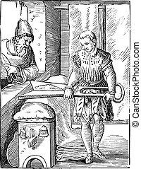 彫版, 世紀, draper, 時間, engraving., 16番目, 型, 後で
