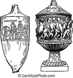 彫版, 型, ギリシャ語, 壷, ローマ人