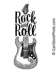 彫版, 型, guitar., イラスト, ベクトル, 黒, 音響