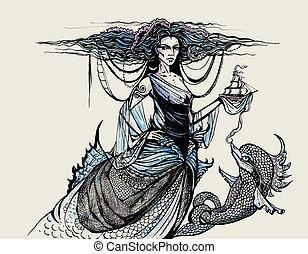 彫版, 女神, 海洋