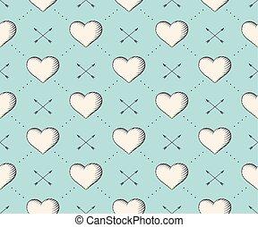 彫版, 心, スタイル, illustration., パターン, 矢, seamless, バレンタイン, day., ベクトル, トルコ石, 背景, 型, 手, drawn.