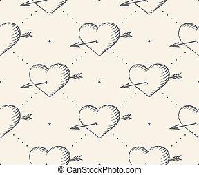 彫版, 心, スタイル, illustration., パターン, seamless, バレンタイン, day., ベクトル, ベージュのバックグラウンド, 型, 矢, 手, drawn.