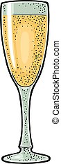 彫版, 色, 型, イラスト, ガラス, シャンペン。, ベクトル
