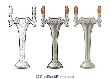 彫版, 色, 型, イラスト, ビール, ベクトル, tap.
