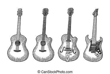 彫版, 電気である, 型, guitar., イラスト, ベクトル, 黒, 音響