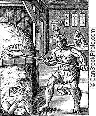 彫版, 16番目, パン屋, 型, 世紀