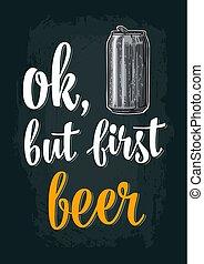 彫版, beer., ベクトル, 缶, 型