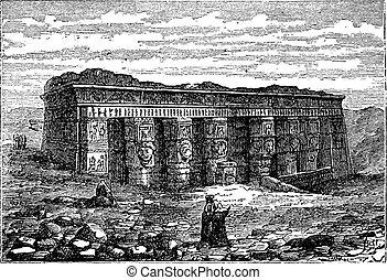 彫版, hathor, dendera, 型, エジプト, 寺院