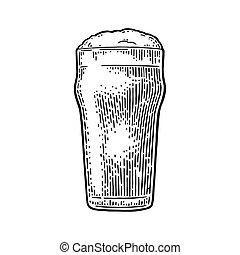 彫版, illustration., 型, ガラス, ベクトル, 黒, beer.
