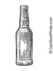 彫版, illustration., 型, ビール, ベクトル, 黒, bottle., 開いた