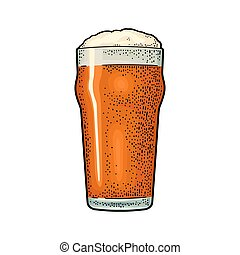 彫版, illustration., 色, 型, ガラス, ベクトル, beer.