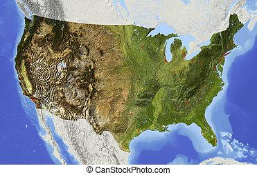 影で覆われる, アメリカ, 立体模型地図