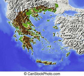 影で覆われる, 立体模型地図, ギリシャ