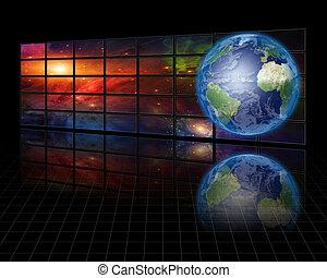 影像, 屏幕, 由于, 地球