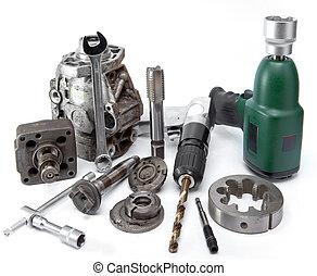 影響, 修理, ドリル, 自動車, -, ポンプ, 圧力, 空気, 高く, レンチ, 詳細, 背景, 白