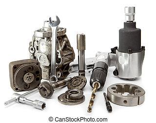 影響, 修理, 自動車, -, 空気, 高圧, ポンプ, 詳細, 背景, 白, レンチ