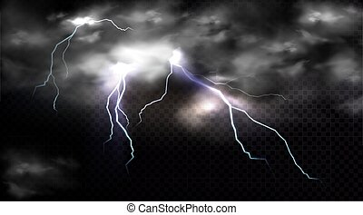 影響, 場所, 攻撃する, 稲光, 雷雲