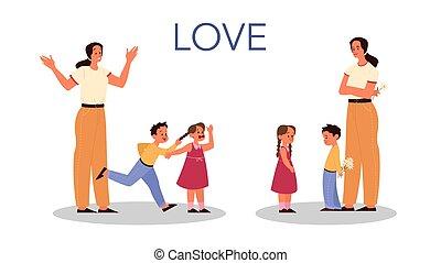 影響, 子供, 家族, 親であること, 概念, set., 子供, 後ろ足で立つ