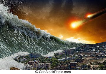 影響, tsunami, 小惑星, 波