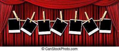 影, カーテン, 劇場ライト, かけられた, polaroids, ブランク, 赤, ステージ