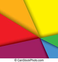 影, グラフィック, カラフルである, &, ライン, -, ペーパー, ベクトル, 背景