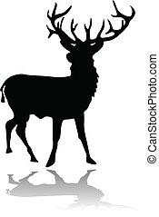 影, シルエット, 鹿