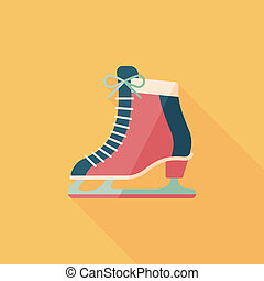 影, スケート, アイコン, eps10, 氷, 長い間, 平ら
