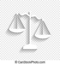 影, スケール, 正義, 印。, バックグラウンド。, vector., 白, 柔らかい, 透明, アイコン