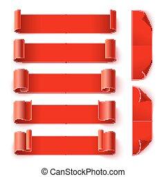 影, セット, ペーパー, 背景, 旗, 白い赤, カールされた