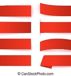 影, セット, 現実的, ペーパー, リボン, 背景, 旗, 白い赤