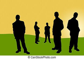 影, ビジネス 人々