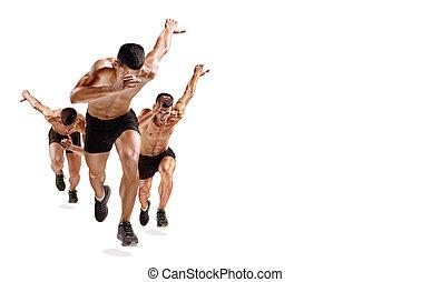影, ランナー, 隔離された, 1(人・つ), 動くこと, ジョガー, ジョッギング, 背景, 白い caucasian, 人