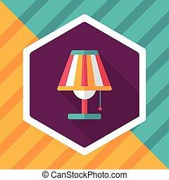 影, ランプ, eps10, アイコン, テーブル, 平ら, 長い間