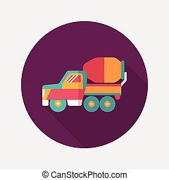 影, 交通機関, トラック, アイコン, eps10, 平ら, 長い間