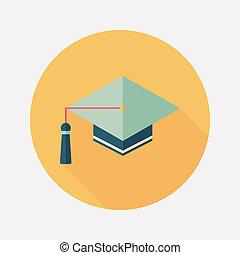影, 帽子, アイコン, eps10, 平ら, 長い間, 教育