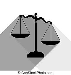 影, 平ら, スケール, 正義, 印。, 2, バックグラウンド。, 灰色, 黒, vector., 白, アイコン