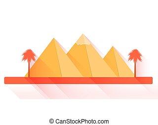 影, 平ら, スタイル, illustration., エジプト人, 長い間, バックグラウンド。, ベクトル, ピラミッド, pyramids., 白, 風景