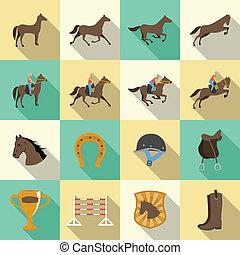 影, 平ら, セット, アイコン, 馬に乗って 乗馬