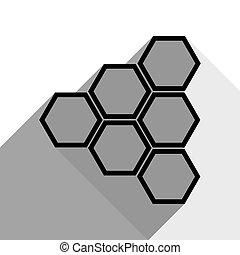 影, 平ら, 灰色, 印。, 2, バックグラウンド。, 黒, vector., 白, アイコン, ハチの巣