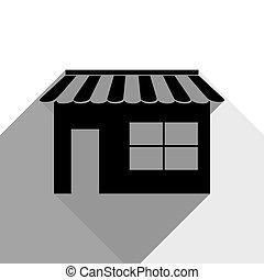 影, 平ら, illustration., 灰色, 2, 印, バックグラウンド。, 黒, vector., 白, 店, アイコン