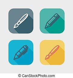 影, 平ら, tools., アイコン, 長い間, 執筆, セット, 図画