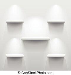 影, 白い部屋, 空, 棚