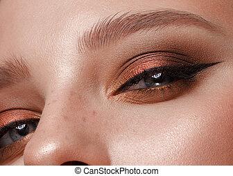 影, 目, 目色, まつげ, makeup., クローズアップ, 女性, 打撃
