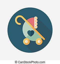 影, 赤ん坊, アイコン, eps10, 平ら, 長い間, 乗り物