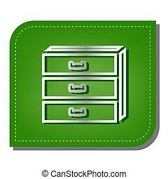 影, 銀, leaf., パッチを当てられた, 生態学的, 印。, 線, 緑, illustration., ...