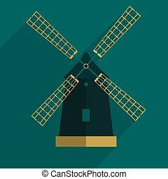 影, 風車, アイコン, eps10, 平ら, 長い間
