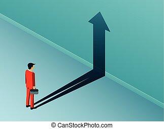 影, concept., 漫画, 矢, 金融, 青, ベクトル, 創造的, 成功, ビジネス, leadership., 反映された, 立ちなさい, バックグラウンド。, ビジネスマン, ゴール, idea., 見る, wall., イラスト