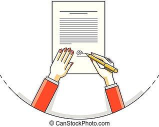 役人, 処分, 責任者, マネージャー, ペーパー, サイン, 上, 文書, 女性ビジネス, ceo, 上司, シール,...